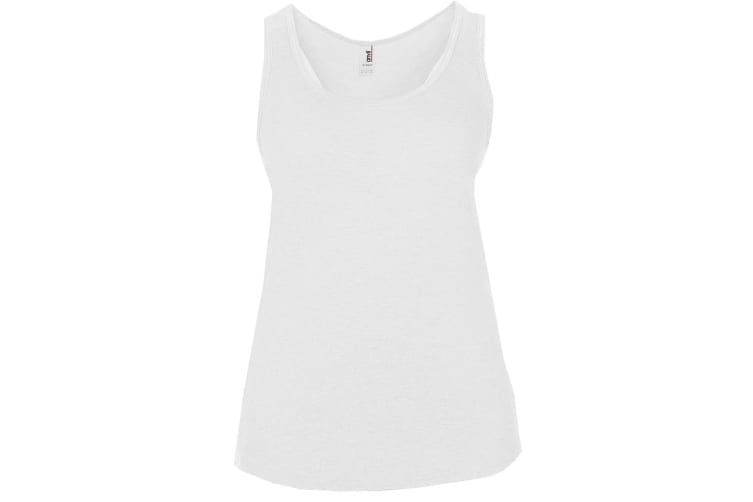 Anvil Womens/Ladies Sleeveless Tri-Blend Racerback Vest/Tank Top (White) (L)