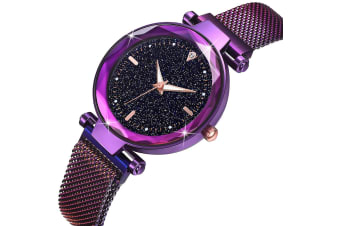 Bullion Gold Sparkly Black Glass Purple Watch Embellished with Rhinestone
