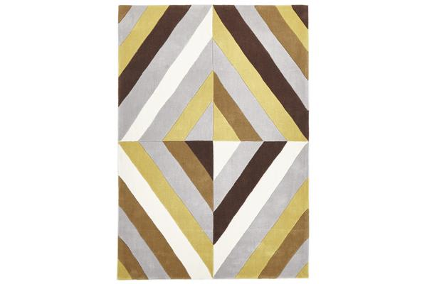 Yellow Brown Grey Crystal Prism Rug  280x190cm