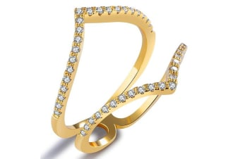 Pretty Denise Fashion Ring-Gold/Clear Size US 8