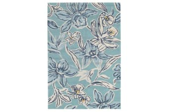 Whimsical Blue Floral Indoor Outdoor Rug 320x230cm