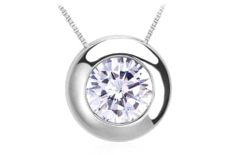 Circle Of Light Necklace w/Swarovski Crystals-White Gold/Clear