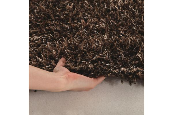 Metallic Noodle Shag Rug Dark Brown 130x70cm