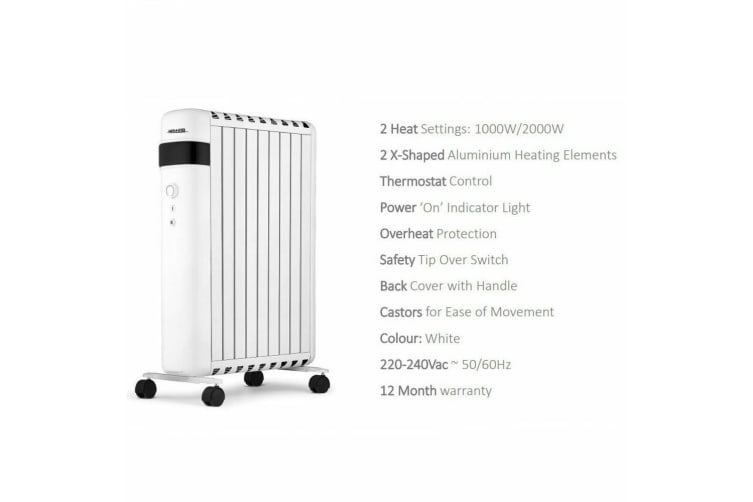 Heller 2000W Oil Free Column Heater - White