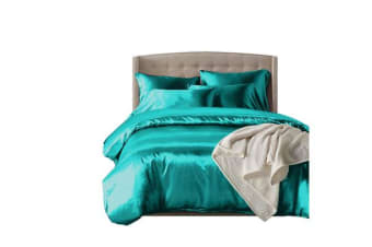 Dreamz Satin Duvet Cover Pillowcases Set TEAL - Double