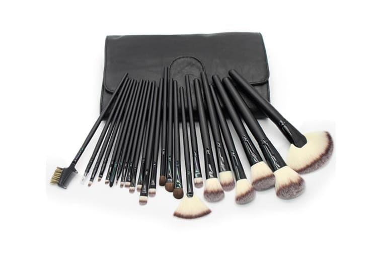 24Pcs Top-Grade Cosmetic Brushes With Fashionable Brush Packs Black