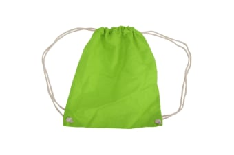 Westford Mill Cotton Gymsac Bag - 12 Litres (Pack of 2) (Lime) (One Size)