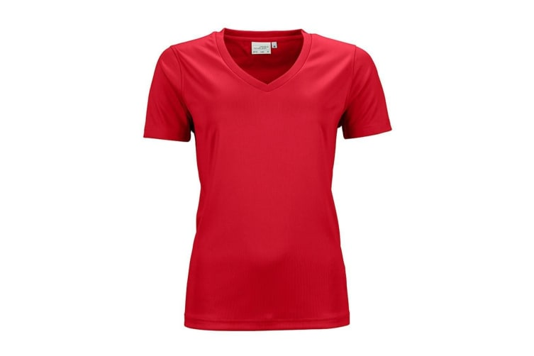 James And Nicholson Womens/Ladies Active V Neck T-Shirt (Red) (XS)