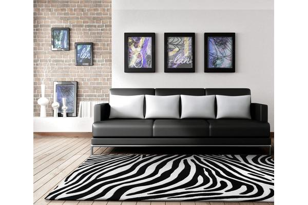 Zebra Deluxe Black And White Rug 280x190cm