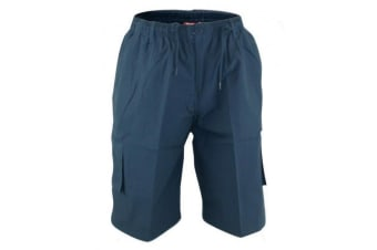 Duke Mens Nick-D555 Shaped Leg Cargo Shorts (Navy) (5XL)