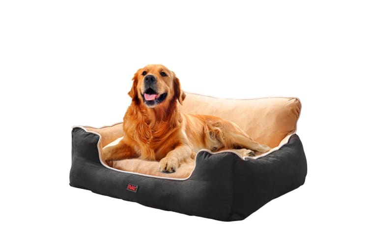 PaWz Pet Dog Cat Bed Mat Deluxe Soft Cushion Lining Warm Kennel Washable Brown