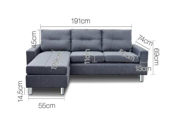 Four Seater Linen Look Sofa with Ottoman (Grey)