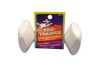 Pro Trainer Large 14cm Dog Retrieving Dumbbell by Fido Floats, Non-Toxic, Vanilla